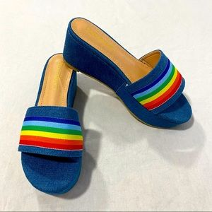 Liliana Denim Rainbow Platform Slides NWT Size 7